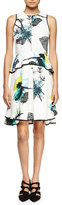 Proenza Schouler Sleeveless Ikebana-Print Peplum Dress, White/Blue/Green