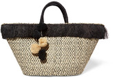 Kayu Kahuna Pompom-embellished Fringed Woven Straw Tote - Beige