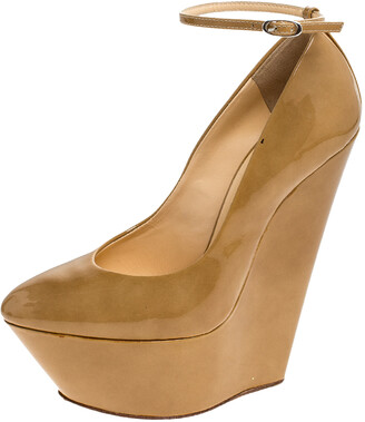 Giuseppe Zanotti Tan Patent Leather Ankle Strap Platform Wedge Pumps Size 36