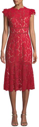 Saylor Scalloped Rose Lace Cap-Sleeve Midi Dress