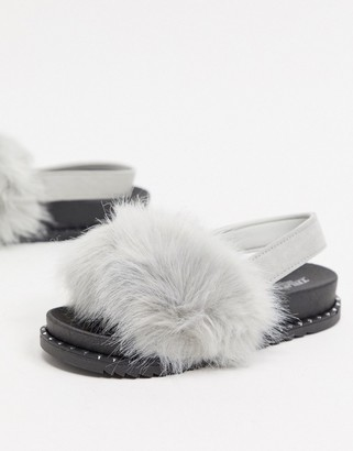 Truffle Collection sling back fluffy slippers in grey