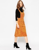 Asos Midi Skirt in Suede with Pinafore Bodice