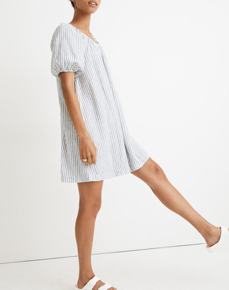 Madewell Petite Linen-Blend Puff-Sleeve Trapeze Mini Dress in Railroad Stripe