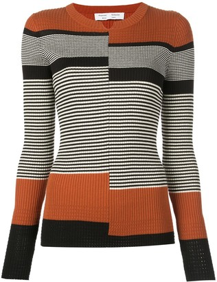 Proenza Schouler White Label stripes fine gauge rib knit top
