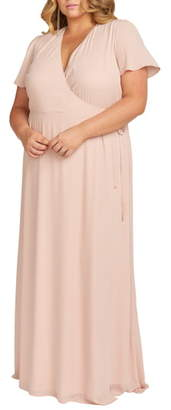 Show Me Your Mumu Noelle Flutter Sleeve Wrap Evening Dress