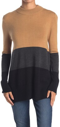 French Connection Normie Colorblock Mock Neck Sweater