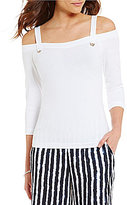 Armani Exchange Cold-Shoulder 3/4 Sleeve Solid Top