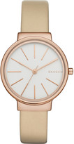Skagen SKW2481 ancher rose gold-toned stainless steel and leather watch