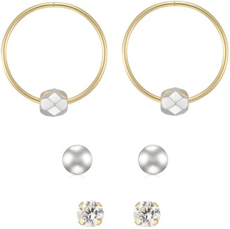 Forever Last 10kt yellow Gold Trio Earring Set - 13mm sleeper white mirror bead, 2mm round cubic stud & 3mm white ball studs