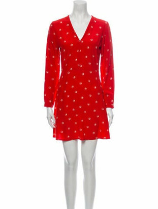 HVN Printed Mini Dress Red