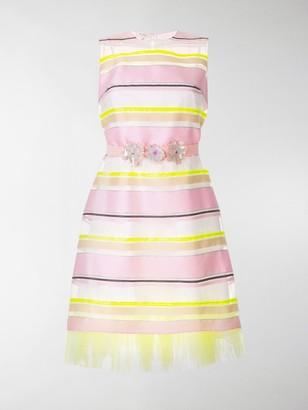 DELPOZO Sheer Striped Belted Dress