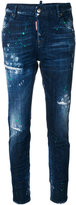 DSQUARED2 distressed Cool Girl jeans - women - Cotton/Calf Leather/Polyester/Brass - 40