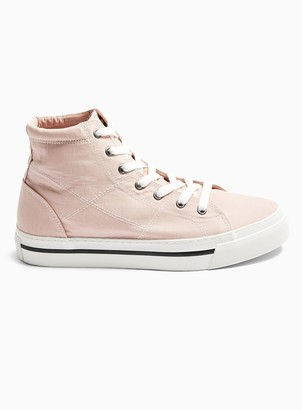 Topman Pink Canvas Chase Hi Top Trainers