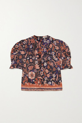 Ulla Johnson Joni Ruffled Floral-print Cotton-poplin Blouse - Midnight blue