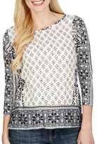 Lucky Brand Printed Boatneck Top