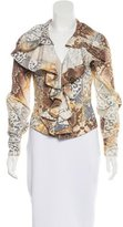 Just Cavalli Ruffle-Trimmed Abstract Print Jacket