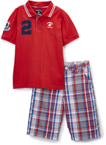 Beverly Hills Polo Club Red Polo & Plaid Shorts - Infant Toddler & Boys