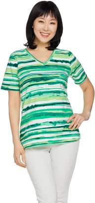 Denim & Co. Painter Stripe Printed Short Sleeve Top