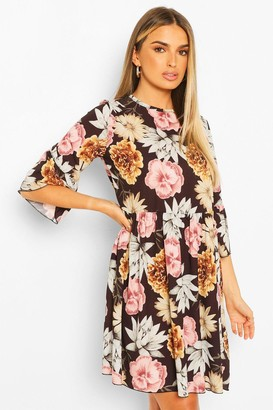 boohoo Large Floral Print Frill Sleeve Smock Dress