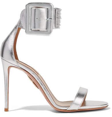 Aquazzura Casablanca Metallic Leather Sandals - Silver