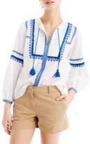 J.Crew J. Crew Embroidered Linen & Cotton Top (Regular & Petite)