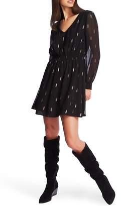 1 STATE 1.STATE Foil Print Long Sleeve Chiffon Dress