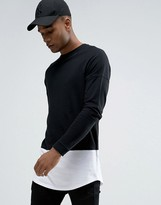 Celio Longline Long Sleeve Top With Contrast Layer Curved Hem