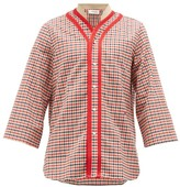 Wales Bonner Saint Checked Wool-blend Shirt - Mens - Red Multi