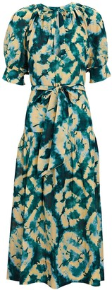 Ulla Johnson Selena Tie-Dye Puff Sleeve Midi Dress