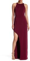 NBD Triple Gold-Tone Metal Straps Maxi Dress