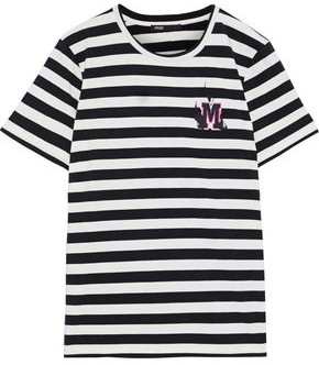 Maje Tamino Embroidered Striped Stretch-cotton Jersey T-shirt