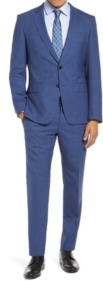 BOSS Huge/Genius Slim Fit Houndstooth Wool Suit