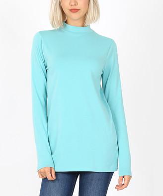 Ash Zenana Women's Tee Shirts  Mint Long-Sleeve Mock Neck Tee - Women