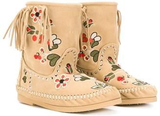 Alberta Ferretti Kids Floral Embroidered Fringe Boots
