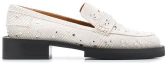 Ganni Studded Denim Loafers