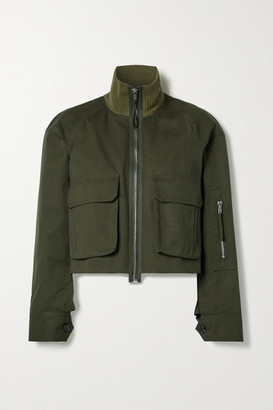 Helmut Lang Cropped Ribbed Knit-trimmed Canvas Jacket - Army green