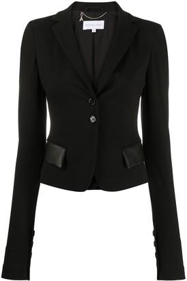 Patrizia Pepe Slim-Fit Faux-Leather Pocket Blazer