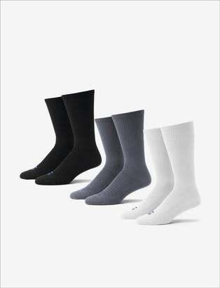 Tommy John Men's Go Anywhere Sock 3 Pack, White/Turbulence/Black