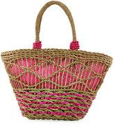 La Sera Dapperly Woven Straw Tote Bag, Neutral
