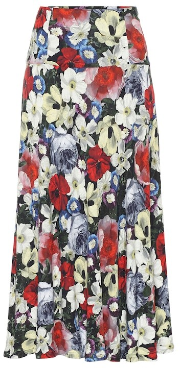Thumbnail for your product : Erdem Elvin floral jersey midi skirt
