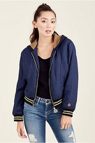 True Religion Patched Bomber Womens Hooded Jacket