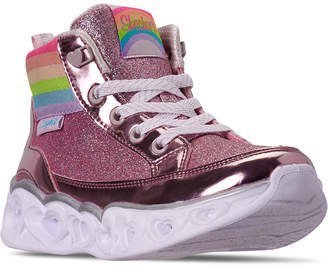 Skechers Little Girls Heart Lights Rainbow Diva High Top Light-Up Casual Sneakers from Finish Line