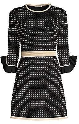 Shoshanna Women's Claira Ruffle-Trim Tweed A-Line Dress