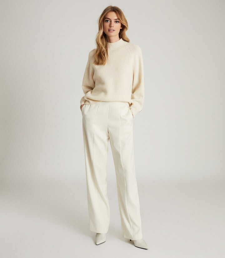 Reiss Willow - Button Detail Cashmere Blend Jumper in Cream