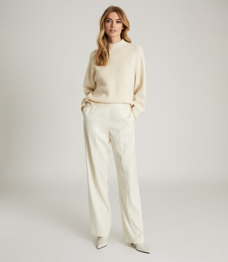 Reiss Willow - Button Detail Cashmere Blend Jumper in Cream