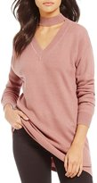 Gianni Bini Emmett Oversized V-neck Choker Sweater