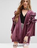 Reclaimed Vintage Kimono In Velvet With Ruffles