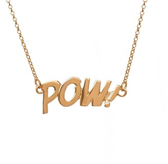 Edge Only Pow Letters Necklace in Gold