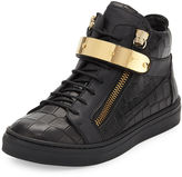 Giuseppe Zanotti Kids' Unisex Aftering Crocodile-Embossed Leather High-Top Sneaker, Youth