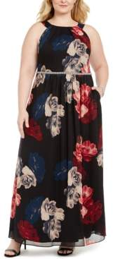 SL Fashions Plus Size Printed Bead-Waist Maxi Dress